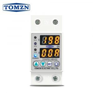 60A 230V Din rail réglable sur et sous tension dispositif de protection relais avec voltmètre de protection contre les surintensités