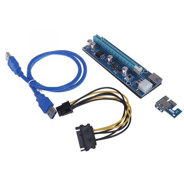 PCI-E 1X à 16X Riser carte PCIE USB3.0 SATA adaptateur d'extension carte câble d'alimentation
