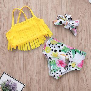 2020 été bambin maillots de bain bébé fille dinosaure gland Bikini licou Bow 3pces maillot de plage tenue maillot de bain maillots de bain
