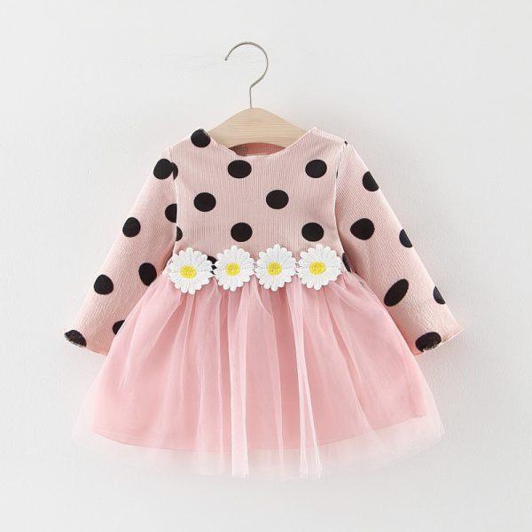 Robe d'automne pour bébés filles | Vêtements à manches longues, motif à pois, motif marguerite, à la mode