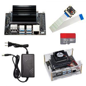 Jetson Nano kit de développement carte de démonstration AI carte de développement plate-forme A02 Version + boîtier + carte SD 32G + adaptateur d'alimentation cc + caméra AI