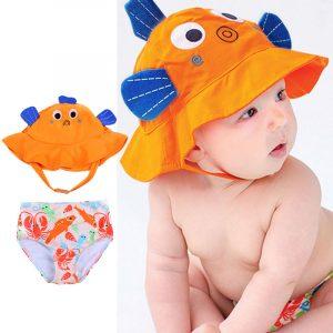 Mignon bébé/enfant en bas âge filles garçons vêtements réutilisable chapeau de soleil et bain couche ensemble 2 pièces maillot de bain ensemble-avec UPF 50 + Protection solaire 0-24M