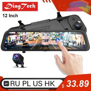12 ''voiture rétroviseur enregistreur automatique 1080P FHD rétroviseur voiture dvr super vision nocturne streaming médias tableau de bord caméra miroir dvr