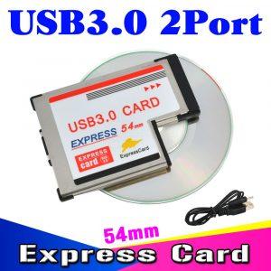 Kebidumei USB3.0 à Expresscard Express carte adaptateur 5Gbps double 2 Ports HUB PCI 54mm Slot ExpressCard pour ordinateur portable