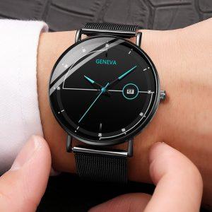 Genève montre pour hommes hommes Ultra-mince en acier inoxydable Design personnalisé avec calendrier mâle horloge reloj hombre montre homme 2020