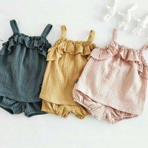 Ensembles de vêtements d'été pour enfants filles | Tenue sans manches, haut + short, tenue en coton, nouveau Style, pour bébés filles