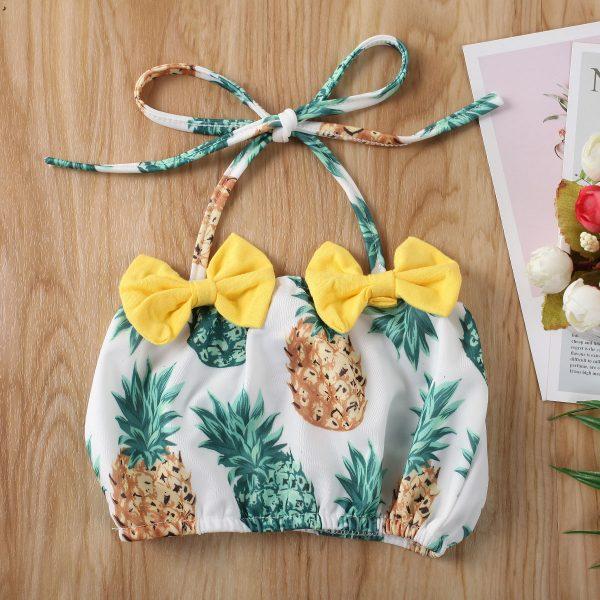 Maillot de bain pour petites filles | Ensemble 2 pièces, imprimé ananas, pastèque, à volants, nœud papillon, pour enfants en bas âge