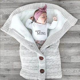 Sacs de couchage chauds d'hiver pour nouveau-né   Tricot à boutons pour bébé, lange emmaillotage poussette enveloppettes pour tout-petits, sacs de couchage