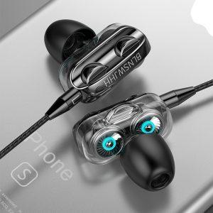 Olhveitra 3.5mm dans l'oreille écouteurs filaire casque Gamer pour ordinateur iPhone Samsung Xiaomi double lecteur stéréo Sport écouteurs avec micro