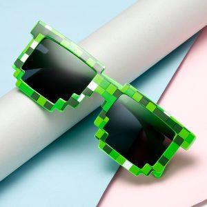 Gags mosaïque lunettes de soleil truc jouet voyou vie lunettes traiter avec elle lunettes Pixel femmes hommes noir mosaïque lunettes de soleil drôle jouet