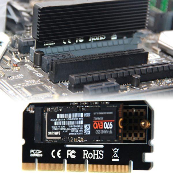 Nouveauté en alliage d'aluminium coque Led carte d'extension Interface adaptateur d'ordinateur M.2 NVMe SSD à PCIE 3.0X16