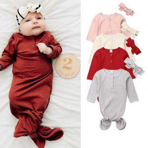 CANIS-sac de couchage à manches longues   Sac de couchage solide pour nouveau-né bébé à boutons, sac de sommeil enveloppant, joli bandeau, 2 pièces 2019