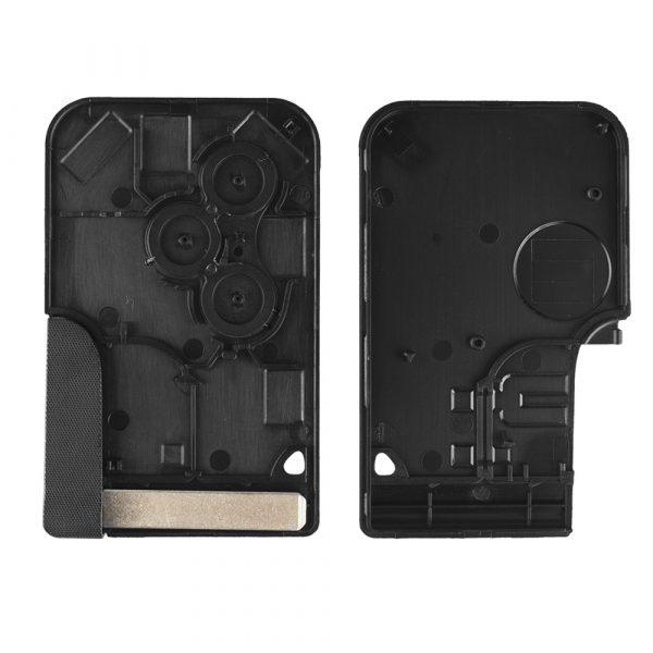 KEYYOU 3 bouton carte à puce pour Renault Clio Logan Megane 2 3 Koleos scénic carte étui noir voiture clé porte-clés coquille avec petite clé