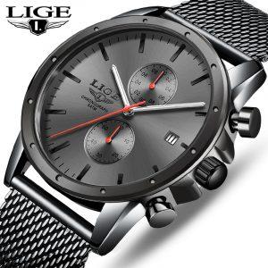 Montres hommes haut de gamme marque de luxe LIGE montre d'affaires hommes chronographe plein acier étanche analogique Quartz montre-bracelet mâle horloge + boîte