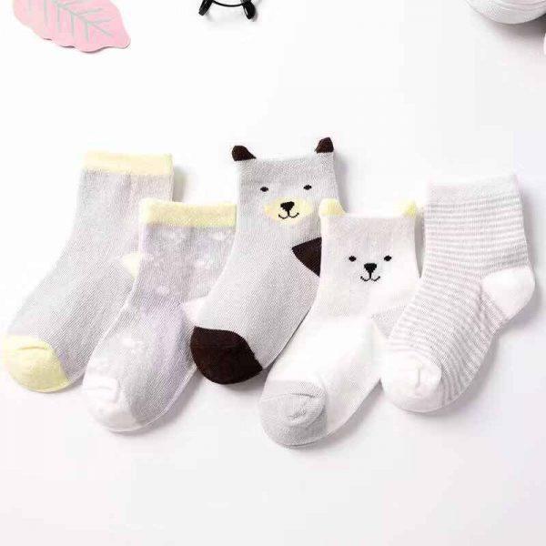 5 Paires/lot Printemps Automne Dessin Animé Chat Animal Doux Tricot de Coton Bébé Chaussettes Enfants Garçon Nouveau-Né Bébé Fille Garçons Chaussettes Pour 0-6Yrs