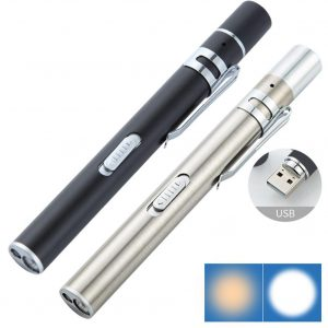 USB Rechargeable Medical Handy Pen Light Mini Nursing Flashlight LED Torch Lamp With Stainless Steel Clip Pocket Led Flashlight