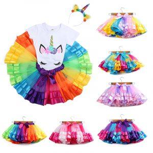 Mini jupe Tutu en Tulle pour filles, vêtements de fête, arc-en-ciel, 3M-8T, princesse