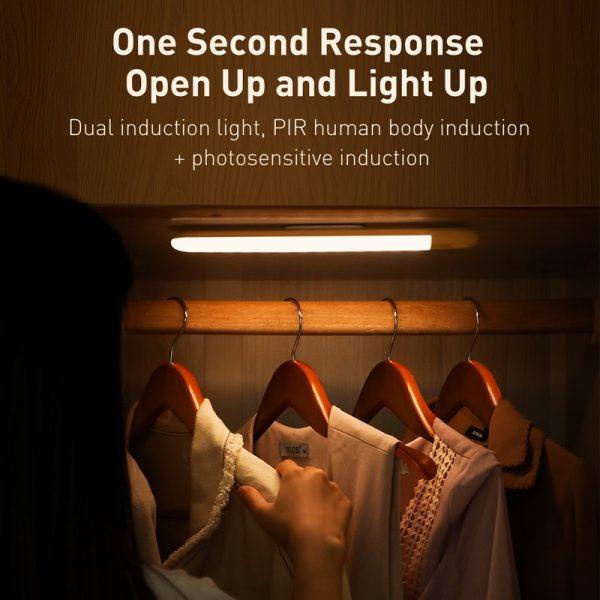 Baseus Under Cabinet Light PIR Motion Sensor Human Induction Cupboard Wardrobe Lamp Smart LED Closet Light For Kitchen Bedroom