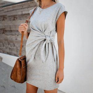 Robe de femme enceinte en coton doux et confortable, tenue populaire de couleur Pure, à nouer à la taille, 2020