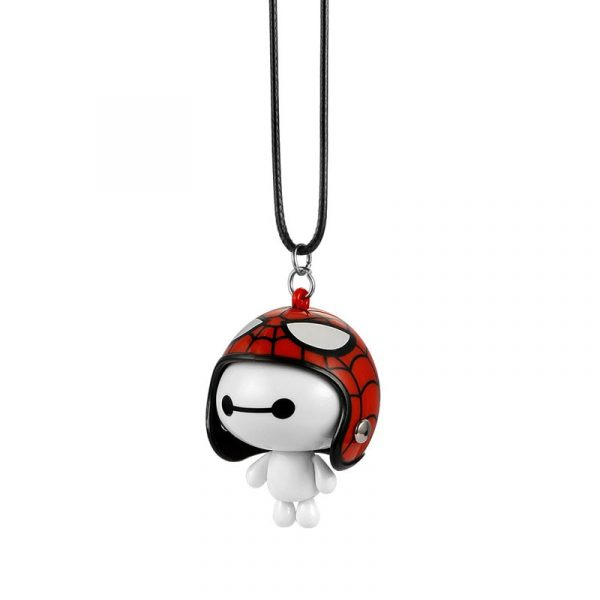Car Pendant Cute Helmet Baymax Robot Doll Hanging Ornaments Automobiles Rearview Mirror Suspension Decoration Accessories Gifts