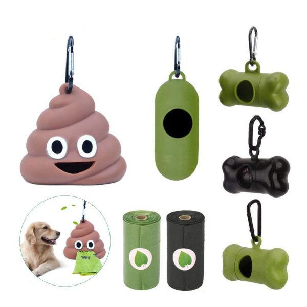 Waste Bag Dispenser for Dog Waste Carrier Green Black Pet Supply Accessory Dog Cat Small Tools Poop Bag Holder