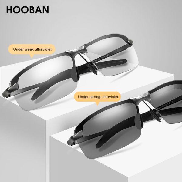 HOOBAN – lunettes de soleil Vintage photochromiques pour hommes, verres solaires rectangulaires polarisés, caméléon pour la conduite, Vision nocturne