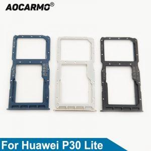 Aocarmo – support pour carte Nano Sim, pièce de rechange, pour Huawei P30 Lite SD MicroSD
