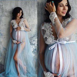 Goocheer — Robes de maternité en dentelle, col en v ajouré, vêtements pour femmes enceintes, accessoires de photographie, longue, longueur
