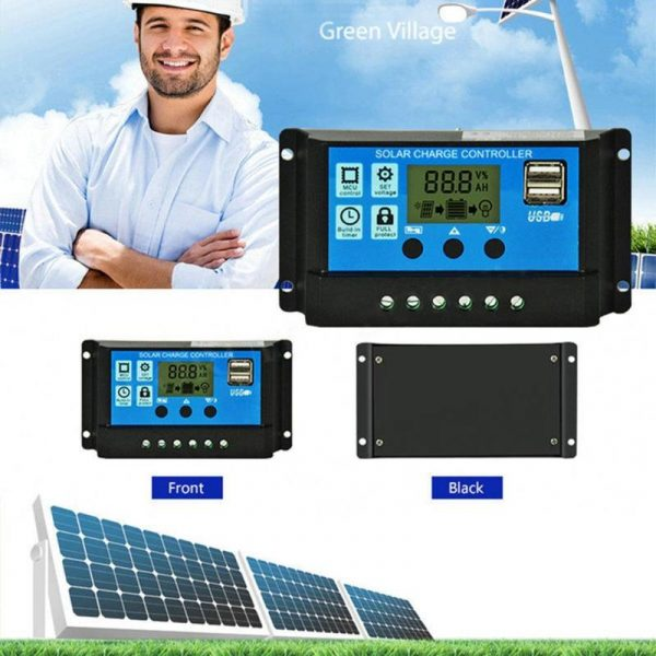 12V/24V HD LCD Display Auto Work Solar Charge Controller 10A/20A/30A PWM Dual USB Output Solar Cell Panel Charger Regulator