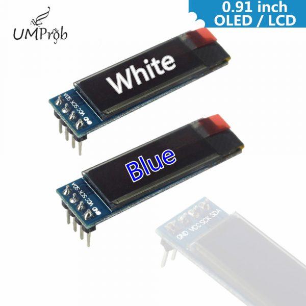 UMProb – Carte d'affichage de 0,91 pouces, 128x 32, blanc, bleu, OLED, LCD, affichage, IIC, I2C, pilote, IC, DC, 3.3 V, 5 V, bricolage,