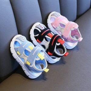 Sandales d'été pour bébés filles et garçons, chaussures de plage en tissu doux, à la mode, pour tout-petits