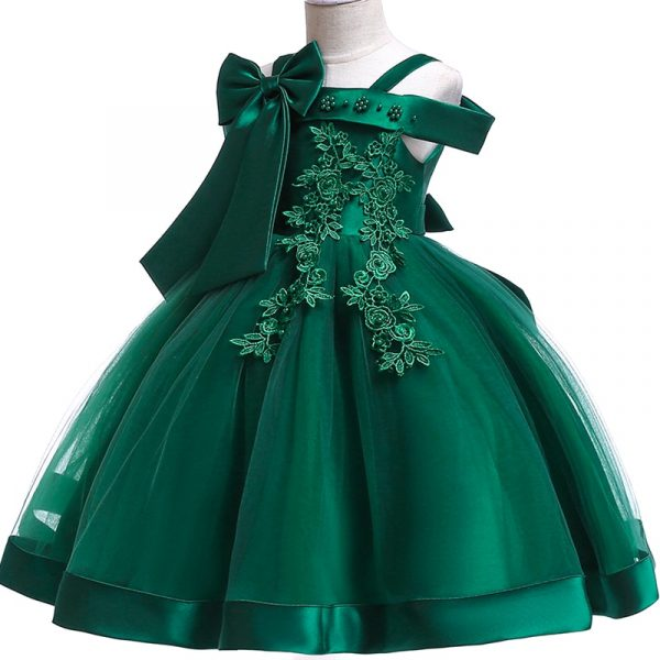 Robe de princesse en soie brodée pour petites filles, vêtements d'hiver élégants à fleurs pour fête de noël Halloween pour enfants