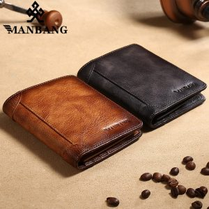 ManBang – portefeuille de poche en cuir véritable pour hommes, petite bourse rétro de haute qualité, tendance 2020