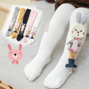Collants mignons tricotés en coton avec motifs d'animaux pour petite fille,bas enfants, vêtements bébé, double aiguille, collection printemps-automne-hiver,