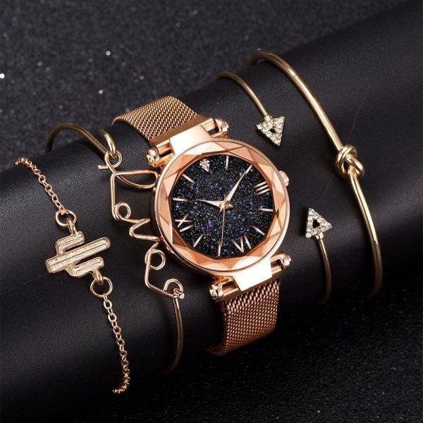 5pcs Set Luxury Women Watches Magnetic Starry Sky Female Clock Quartz Wristwatch Fashion Ladies Wrist Watch relogio feminino