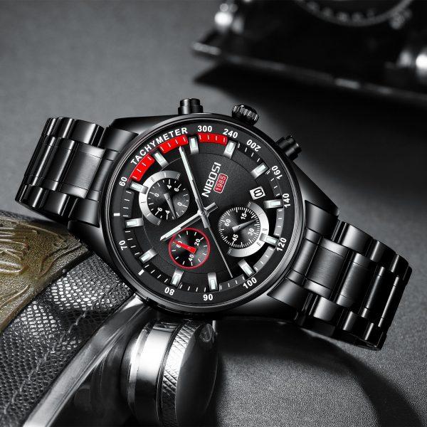 NIBOSI Fashion Mens Watches Top Brand Luxury Wrist Watch Quartz Clock Gold Watch Men Waterproof Chronograph Relogio Masculino