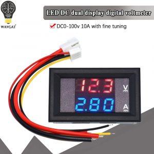"""Voltmètre numérique DC 0-100V 10A ampèremètre détecteur de tension à double affichage panneau de compteur de courant ampèremètre voltmètre 0.28 """"rouge bleu"""