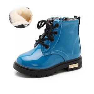Chaussures de marque imperméables en simili-cuir pour filles et garçons,bottines de neige à la mode pour enfants, style bottes en caoutchouc Martin, nouveauté, hiver 2021,