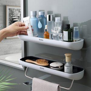 Adhesive Bathroom Shelf Organizer Wall Mounted Shampoo Spices Shower Storage Rack Holder Bathroom Accessories