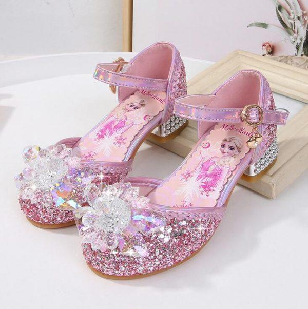 Chaussures de princesse Disney à talons hauts,pour enfants, pour fête, pour l'été, nouvelles sandales, pour bébé et petite fille, en cristal, taille 23 à 36,