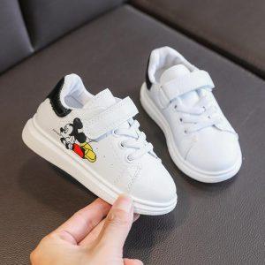 Baskets dessin animé Disney Mickey Mouse pour enfants, chaussures d'école blanches pour garçons et filles