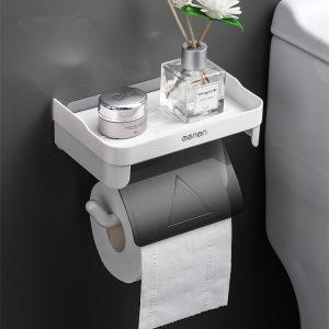 Wall Mount Roll Paper Storage Rack Multi-function Toilet Paper Holder Rack Bathroom Rack Shelves 3 Colors