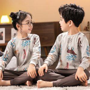Ensemble de pyjamas en coton pour enfant, vêtement pour bébé, garçon et fille, hauts + pantalon avec manches longues, 2 pièces, tenue automnale