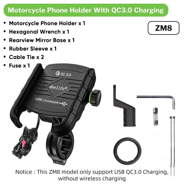 Deelife Phone Holder Motorcycle Mobile Support with Wireless Charger for Scooter Motor Motorbike Mount Stand Smartphone Bracket