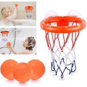 Jouets pour le bain pour un enfant 3 mini balles de basket, accessoires en plastique pour la salle de bain et la baignoire, ensemble de plusieurs pièces, pour filles et garçons pour la douche,