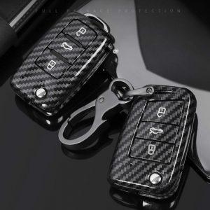 Carbon Fiber ABS Car Key Case For VW Volkswagen Polo Golf 4 5 6 7 T5 Passat B6 B5 Skoda Octavia A5 A7 Seat Leon Ibiza Ateca