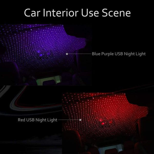 Romantic LED Starry Sky Night Light 5V USB Powered Galaxy Star Projector Lamp for Car Roof Room Ceiling Decor Plug and Play