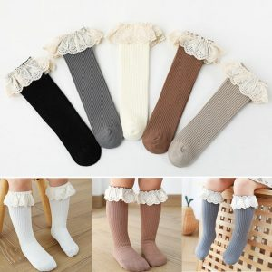 Chaussettes longues pour enfants,hautes jusqu'au genou, en coton doux, pour bébé et filles de 0 à 4 ans, nouveau,