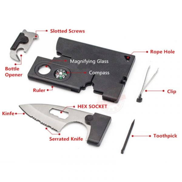 Dropshipping New 10 in 1 Portable Durable Card Knife Tactical EDC Tool Outdoor Sport Camping Survival Self-Defense Equipment