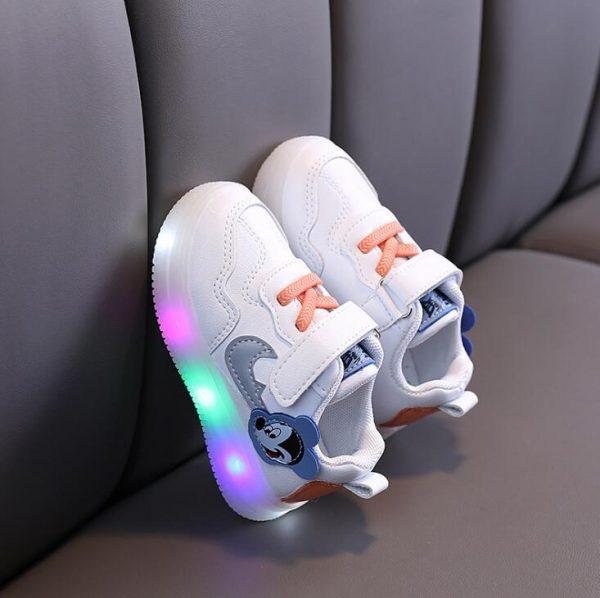 Tennis de princesses scintillantes à motifs de Mickey Mouse pour filles,chaussures de sport décontractées pour enfant, baskets lumineuses à éclairage LED, en solde,